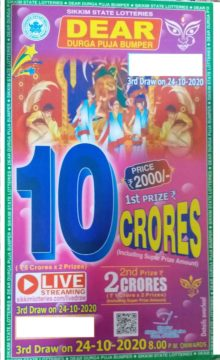 Result of Sikkim State Dear 2000 Durga Puja Lottery