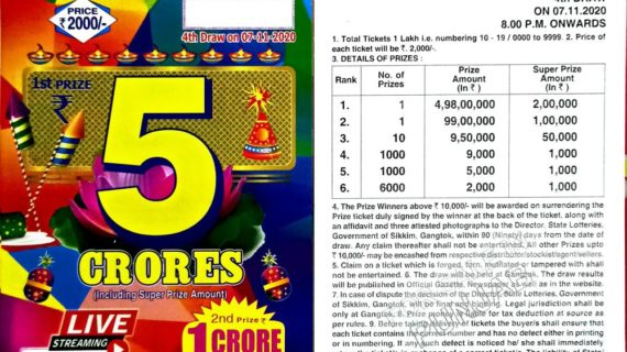Result of Sikkim State Dear 2000 Lottery 7th November, 2020